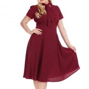 ModCloth Collectif Suzette midi dark red dress